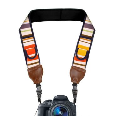 TrueSHOT Camera Strap w/ Vintage Striped Neoprene , Quick Release Clips & Storage Pockets