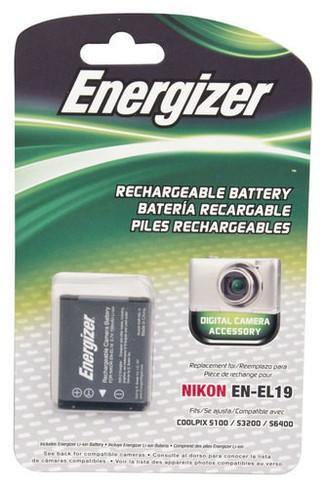 Energizer ENB-NEL19 Digital Replacement Battery EN-EL19 for Nikon S100, S3100, 3200, 3300, 4100, 4200, 4300, 5200, 6400, and 6500 (Black)