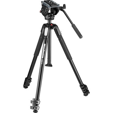 Manfrotto MT190X3 3-Section Aluminum Tripod with MVH500AH Fluid Head Hybrid Video Kit