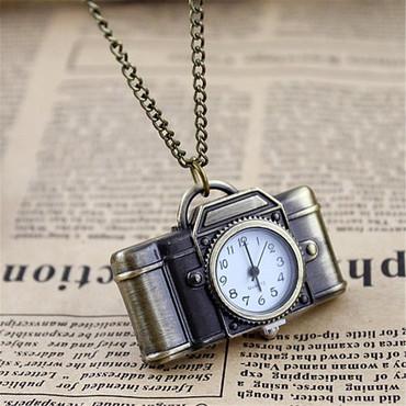 Feelontop Vintage Style Camera Shape Pocket Watch Necklace