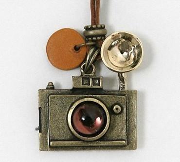 New Retro Camera Photographer Necklace Copper Sweater Chain