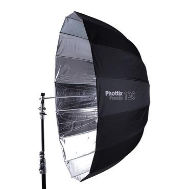 """Premio Parabolic Umbrella, Silver/ Black - 47"""""""