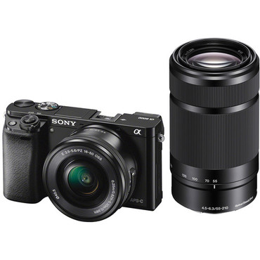 Sony Alpha A6000 Mirrorless Digital Camera with 16-50mm and 55-210mm Lens (Black)