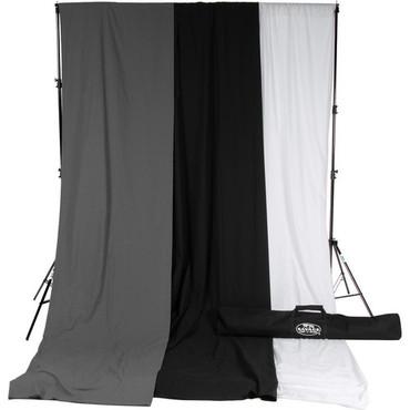 Savage Accent Muslin Background Kit (10 x 24', White/Gray/Black)