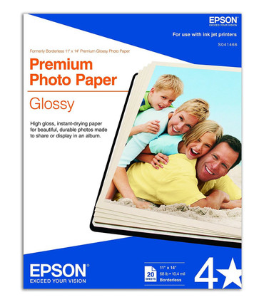 "Epson Premium Photo Paper Glossy (11 x 14"", 20 Sheets)"