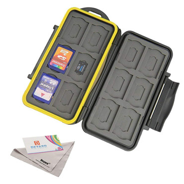 Deyard Waterproof Memory Card Case : 24 Slots for 12 SDHC/SDXC Cards and 12 Micro SD Cards