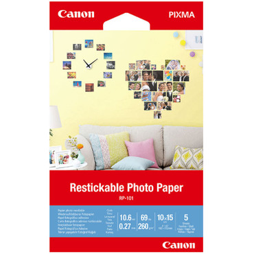 "Canon RP-101 Restickable Photo Paper (4 x 6"", 5 Sheets)"
