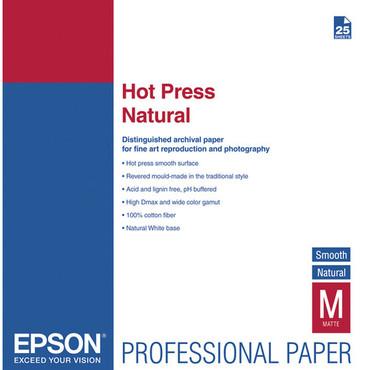 "Epson 13""X19"" 25Sh Hot Press Natural Smooth Matte Paper"