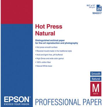 "Hot Press Natural Smooth Matte  8.5 X 11"" 25 Sheet"