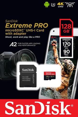 SanDisk Extreme Pro MicroSDXC UHS-I U3 A2 V30 128GB 170 MB/s+ Adapte
