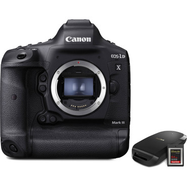 Canon EOS-1DX Mark III DSLR Camera with CFexpress Card and Reader Bundle