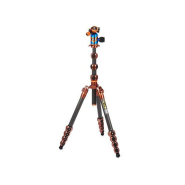 3 Legged Thing Legends Bucky 5-Section Carbon Fiber Travel Tripod System with AirHed Vu Ball Head, Bronze & Blue
