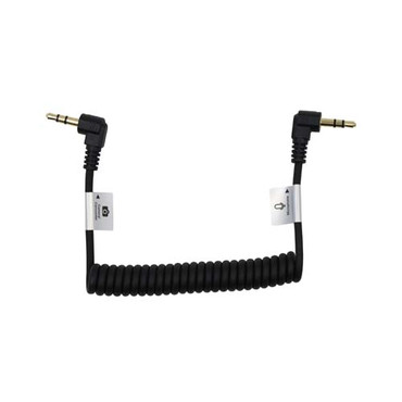 """Promaster Audio Cable 3.5mm TRS male right angle - 3.5mm TRS male right angle - 8 1/2"""" coiled"""