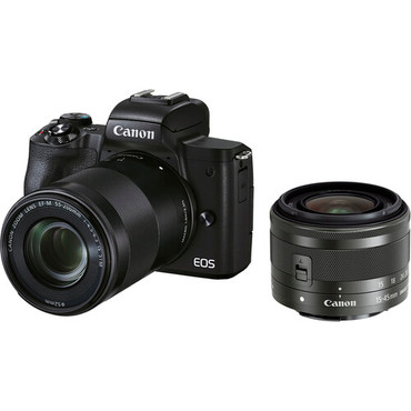 Canon EOS M50 Mark II Mirrorless Digital Camera with 15-45mm and 55-200mm Lenses (Black) (ACE63837)
