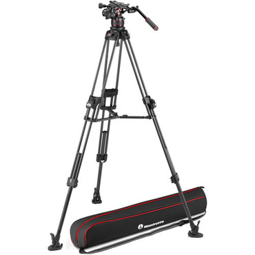 Manfrotto 612 Nitrotech Fluid Head with 645 FAST Twin Carbon Fiber Tripod System and Bag