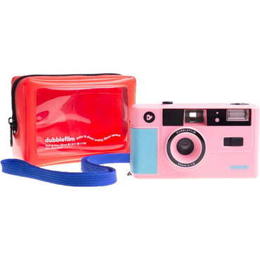 dubble film SHOW 35mm Reusable Flash Camera with Case and Neck Strap (Pink)
