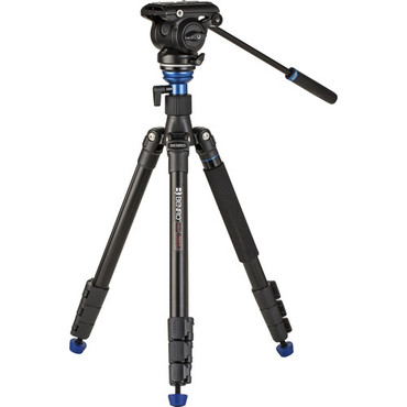 Benro A2883F Reverse-Folding Aluminum Travel Tripod with S4Pro Fluid Video Head (ACE64019)