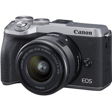 Canon EOS M6 Mark II Mirrorless Digital Camera Create Anywhere Kit with 15-45mm Lens (Silver)-White Box