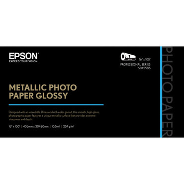 "Epson Metallic Photo Paper Glossy (16"" x 100', 1 Roll)"