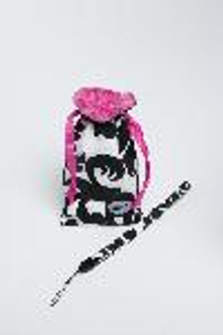 COMPACT CAM POUCH - BLACK & PINK DAMASK
