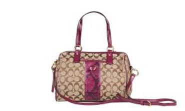 Coach 24884 Khaki & Raspberry Signature Stripe Python Satchel Handbag