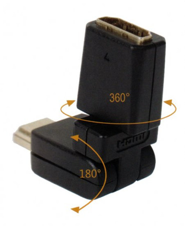 HDMI to female HDMI connector, 6 ft cord, one end has a rotatable connector for tight spaces