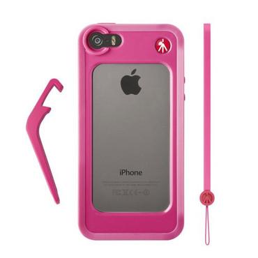 KLYP Pink Bumper for iPhone 5/5S + kickstand + hand-wrist strap