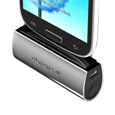 PhoneSuit PS-MICRO2-B Flex Micro 2600 mAh Battery Pack for Android Devices - Retail Packaging - Silver