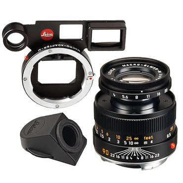 Leica Macro-Elmar-M 90mm f/4 Lens Set w/ Macro-Adapter & Angle Viewfinder