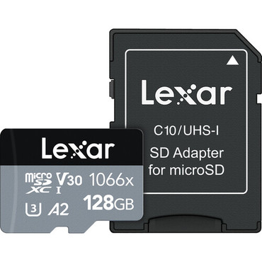 Lexar 128GB Professional 1066x UHS-I microSDXC Memory Card with SD Adapter (SILVER Series)