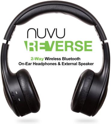 NUVU Reverse - 2-Way Wireless Bluetooth On-Ear Headphones & External Speaker Stereo System - Black