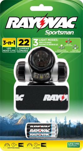 RAYOVAC Sportsman 22 Lumen 3 in 1 Headlight with 3 AAA Batteries