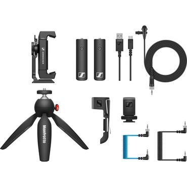 Sennheiser XSW-D Portable Lav Mobile Kit with Transmitter, Receiver, Lapel Mic, Mounts & Manfrotto PIXI Tabletop Stand