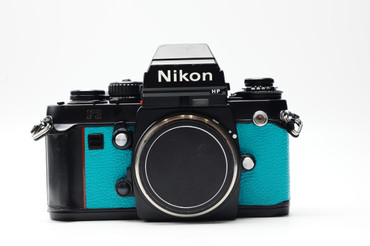 Custom Nikon F3 HP (Body) in Teal, view from front.