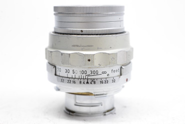 Pre-Owned Leica 90mm (9CM) F/4 (1955) Collapsible Elmar M Mount Lens, (Total made:3,000) SN:1261697
