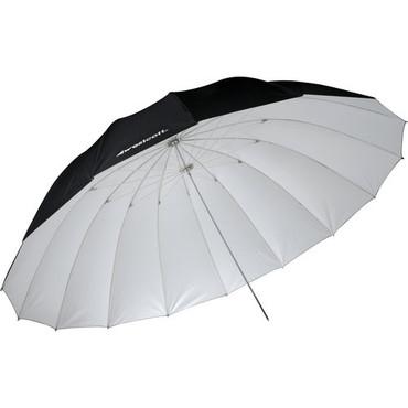 7' Parabolic Umbrella, White/Black