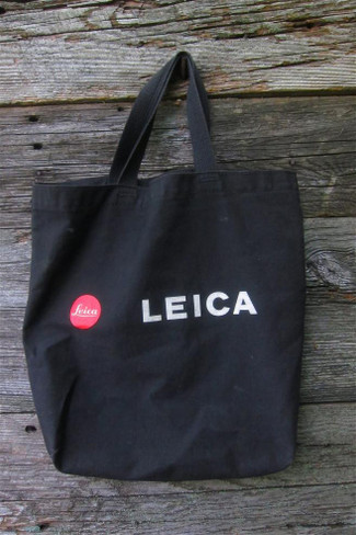 "Small Black Leica Tote Bag W/ ""Red Logo"""