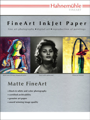 """Hahnemuhle Matte Museum Etching, 100% Rag, Natural White Watercolor Inkjet Paper, 22.0 mil., 350 g/mA, 11x17"""", 25 Sheets"""