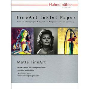 """Hahnemuhle Matte Museum Etching, 100% Rag, Natural White Watercolor Inkjet Paper, 22.0 mil., 350 g/mA, 8.5x11"""", 20 Sheets"""