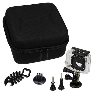 Fotodiox Pro GoTough CamCase Single Kit - Choose from 7 Color Options – GoTough Case and Accessories for One GoPro Camera (CamCase Single, Medium and Short Screws, Extender, QR Tripod Base, SharkBite Wrench); fits GoPro HD Hero, Hero2 and Hero3-Blue