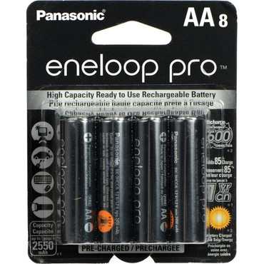 Panasonic 8pk-BK-3HCCA8BA eneloop pro AA High Capacity New Ni-MH Pre-Charged Rechargeable Batteries,