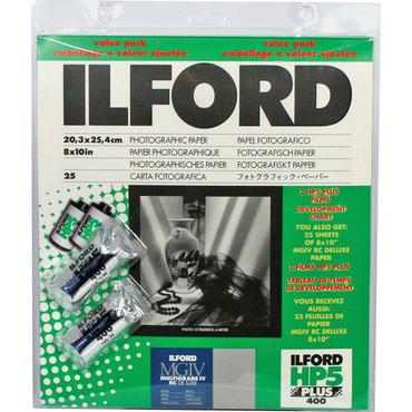 "Ilford 8""X10"" 25Sh Pearl + 2 Roll Film HP5 Plus 400"