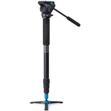 Benro A48TDS4 Monopod with 3-Leg Locking Base and S4 Head, 4 Leg Sections, Twist Lock Leg Release (Black
