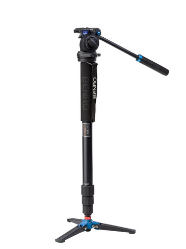 Benro A38TDS2 Monopod with 3-Leg Locking Base and S2 Head, 4 Leg Sections, Twist Lock Leg Release (Black)
