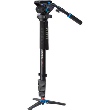 Benro A48FDS6 Monopod with 3-Leg Locking Base and S6 Head, 4 Leg Sections, Flip Lock Leg Release (Black)