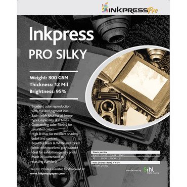 "Inkpress Pro Silky Photo Paper, 300gsm, 12mil, 95% Bright, 8.5x11"", 100 Sheets"