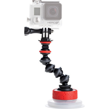 Joby Action Camera Suction Cup & GorillaPod Arm (Black/Red) for GoPro and Action Sports Video Camera Camcorders