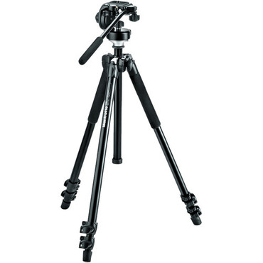 Manfrotto MK294A3-128RC 3-Section Aluminum Video Tripod (Black)