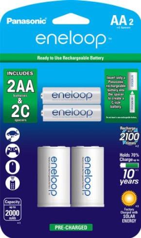 "Panasonic eneloop AA NEW 2100 Cycle 2 Pack with 2 ""C"" Spacers"