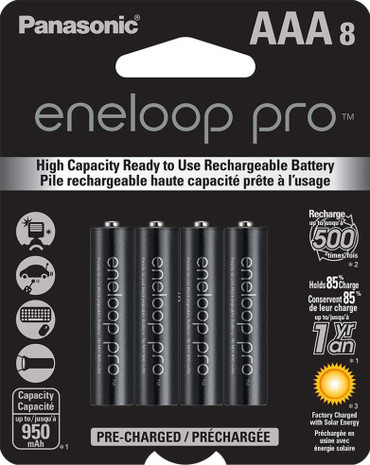 Panasonic Eneloop Pro AAA (8 Pack, 950mAh) Ni-MH Pre-Charged Rechargeable Batteries